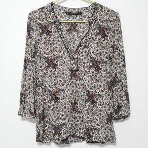Zara Basic unique paisley print 3/4 sleeve blouse